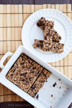 Clean Eating No Bake Oatmeal Granola Bars make a fabulous addition to anybody's lunch box! Brought to you by your #1 resource for clean eating recipes; TheGraciousPantry.com.