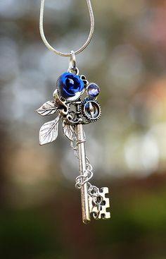 Violet Winter Rose Key Necklace