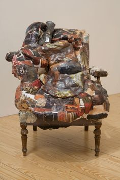 "Jessica Jackson Hutchins, ""Still Life: Chair, Bowl, and Vase"", 2008, chair, plaster, collage, and salt-fired ceramics"
