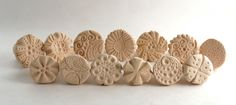 """Set of Stamps to Texture Clay -- ONE or TWO """"You Spin Me Round"""" Clay Stamps -- Handcrafted Tool for Pottery Ceramics Polymer Clay Polymer Clay Kunst, Polymer Clay Tools, Clay Stamps, Paper Clay, Clay Art, Clay Texture, Handmade Stamps, Pottery Tools, Ceramic Techniques"""