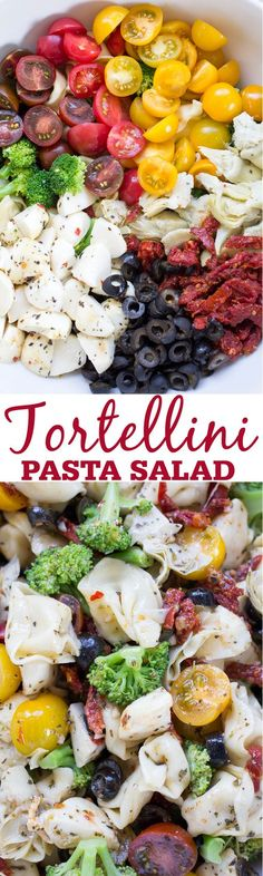 An easy Italian Tortellini Pasta Salad loaded with crisp broccoli, sundried tomatoes, mozzarella, olives and artichoke hearts.