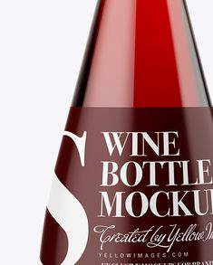 Clear Glass Bottle With Red Wine Mockup  Close-Up