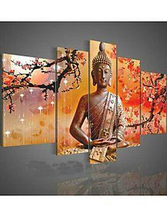 arte religión pintura al óleo pintada a mano de la pared de Buda en la lona 5pcs verdes / set sin marco