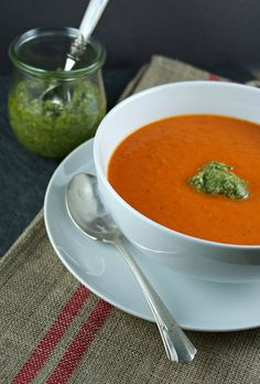 Authentic Suburban Gourmet: { Roasted Red Pepper Soup with Cashew Pesto | Secret Recipe Club }