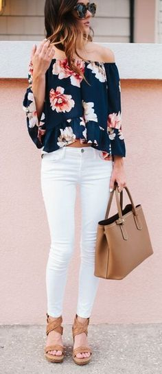 Stitch fix inspiration. Summer outfit ideas. White jeans and floral top. June 2016. Try stitch fix :) personal styling service! 1. Sign up with my referral link. (Just click pic) 2. Fill out style profile! Make sure to be specific in notes. 3. Schedule fix and Enjoy :) There's a $20 styling fee but will be put towards any purchase!