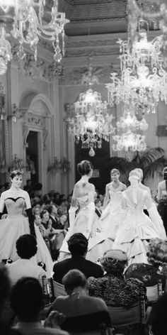 Fashion show in the Sala Bianca of Palazzo Pitti, Florence, Italy, 1955