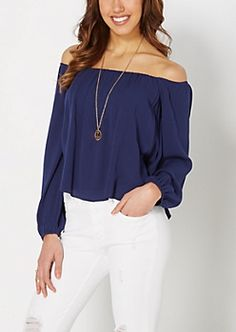 Navy Off-Shoulder Peasant Top