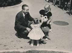 1960's Original Photo WALT DISNEY & OLD MICKEY MOUSE w 2 LIL' GIRLS