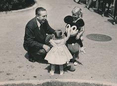 1960's Original Photo WALT DISNEY & OLD MICKEY MOUSE w 2 LIL' GIRLS