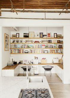 Book case in kitchen