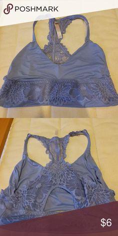 Lace Silk Pink Victoria's Secret Bralet used,in good condition. Blue lavender color.racer back with open cut out. PINK Victoria's Secret Intimates & Sleepwear