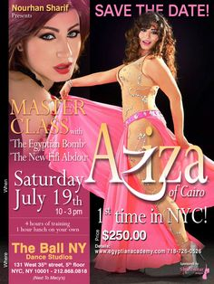 Aziza of Cairo Teaching in the USA for the very first time! Sponsored by Sharifwear ! Tomorrow July 19 2014 ! www.egyptianacademy.com So Exciting !!