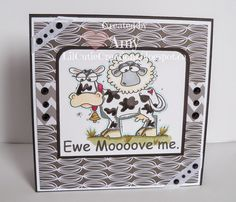 """Handmade Card I made using """"EWE MOVE ME"""" From Bugaboo. Colored using Spectrum Noir Markers"""