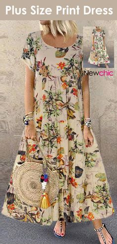 Vintage Floral Printed Short Sleeve Overhead Maxi Dress is high-quality, see other cheap summer dresses on NewChic. Women's Fashion Dresses, Dress Outfits, Cheap Summer Dresses, Young Fashion, Classy Dress, Two Pieces, Fitness Fashion, Beautiful Outfits, Designer Dresses