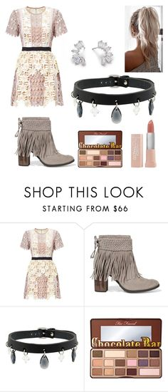 """""""Cute/Pastel Party Look"""" by thegirlwithglasses1354 ❤ liked on Polyvore featuring Schutz, Absidem, Too Faced Cosmetics and Maybelline"""