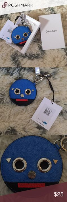 NWT Calvin Klein Blue Black Funny Face KeyChain NWT cute leather key chain from Calvin Klein. Monster/Funny face in box. Box has slight interior damage but actual product is perfect. Retails for $35 USD Calvin Klein Accessories