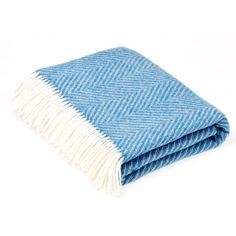 Bronte by Moon Shetland Wool Herringbone Aqua Throw Blanket