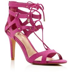 Vince Camuto Claran Snake-Embossed Lace Up High Heel Sandals ($125) ❤ liked on Polyvore featuring shoes, sandals, pink orchid, laced sandals, pink suede shoes, caged heel sandals, heeled sandals and suede lace up shoes