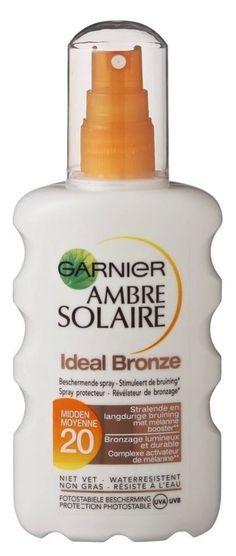 Garnier Ambre Solaire Ideal Bronze SPF20 Spray 200ml  Garnier Ambre Solaire Ideal Bronze SPF20 Spray stimuleert de natuurlijk melanine productie en onthult een mooi kleurtje terwijl het ook efficiënte bescherming biedt tegen UVA- UVB-stralen. Hydraterend en niet vet het hydrateert uw huid en geeft het een prachtige  EUR 16.99  Meer informatie