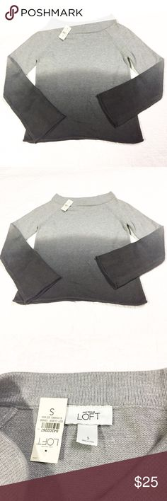 Ann Taylor Loft Grey Ombre Sweater Sz S New with tag. Ann Taylor Loft grey Ombre sweater. Size small. 47% acrylic 46% nylon 7% rabbit hair. Sleeves have a slight bell to them. LOFT Sweaters Crew & Scoop Necks