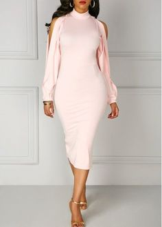 Back Slit High Neck Split Sleeve Pink Dress on sale only US$34.42 now, buy cheap Back Slit High Neck Split Sleeve Pink Dress at liligal.com