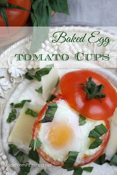 Baked Egg Tomato Cups are the perfect healthy breakfast to get you going for the day. Love it when easy tastes this good.