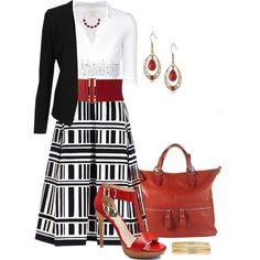 """River Island Black and white geometric stripe midi skirt"" by arjanadesign on Polyvore"