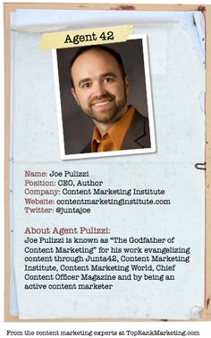 Bio for Secret Agent #42 @joe pulizzi  to see his content marketing secret visit tprk.us/cmsecrets