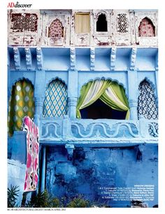 Architectural Digest India magazine, showing inky powder blues