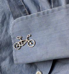 Sterling Silver Bike Cuff Links