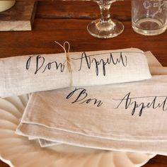 wedding calligraphy ideas - wedding napkins (by lineacarta) christmas table maybe?