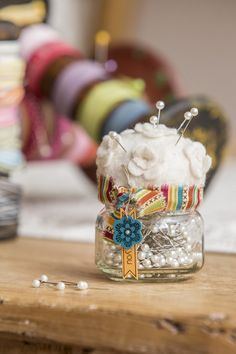 Pins in a jar w/pincushion