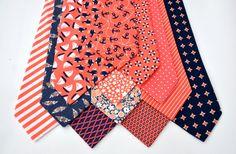 Men's Neckties in Coral and Navy Wedding Neckties by MeandMatilda
