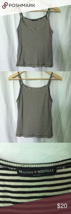 Brandy Melville james tank A black and cream striped tank top from Brandy Melville. Marked as one size, fits a size S/M. Lightly worn. Brandy Melville Tops Tank Tops