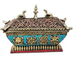 Brass Incense Burner with Coral and Turquoise Inlay