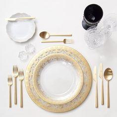 Gold Glass Dinnerware (& Vintage White Collection B+B Plate) + 24k Gold Flatware + Vintage Black Goblets & Czech Crystal Stemware + Antique Crystal Salt Cellars | Casa de Perrin Design Presentation