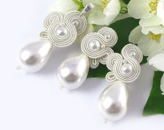 Bridal long earrings and bracelet soutache jewelry set with