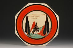 Clarice Cliff 'Red Trees & House' pattern octagonal plate, ca Susie Cooper, Clarice Cliff, Red Tree, Art Deco Era, Trees, Plate, Pottery, Landscape, Artist