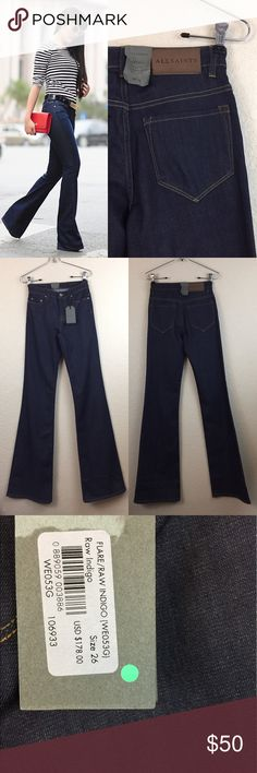 """All saints flare jeans • all saints • Flare jeans • new with tags  • Size 26 • Inseam 35"""" • Waist measures 12"""" across • Leg opening 10"""" across • Material 93% cotton 5% polyester 2% elastane  • YKK zipper • $178 All Saints Jeans Flare & Wide Leg"""
