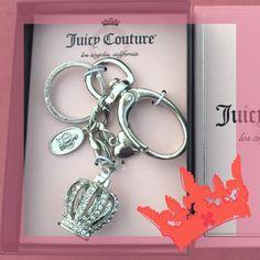 Juicy Couture Purse Keyring/keychain Juicy Couture by Kohls purse accent key ring/ keychain. Silver colored with key ring and lobster clasp. On the key chain Juicy couture signature crown with rhinestones, small silver colored heart, a clear bead and an oval that had an engraved crown on one side and says juicy couture on the back. Comes in box, new Juicy Couture Other