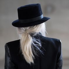 Always Judging- Courtney Trop in Helmut Lang Combination Leather Blazer and the #prestonandolivia Tate Hat