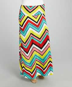 Look what I found on #zulily! Yellow & Black Zigzag Fold-Over Maxi Skirt - Plus by MOA Collection #zulilyfinds