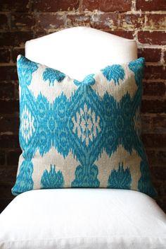 Bright Blue Ikat Hand Print on Natural Taupe Linen by MarthaAndAsh Ikat Pillows, Pillow Fabric, Decorative Pillows, Cushions, Textile Prints, Textile Patterns, Textiles, Fabric Decor, Fabric Design