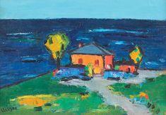 """Case la malul mării  ION MIREA  1912, Răsucenii de Jos, Giurgiu - 1987, Paris  ulei pe placaj, 26 × 36 cm, semnat stânga jos, cu negru, """"Mirea'"""