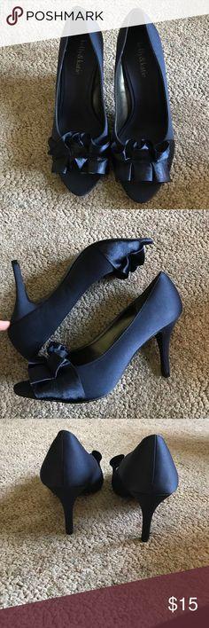 KELLY & KATIE OPEN TOED SATIN HEELS great condition, open toed 2in heel, ruffles on the fronts, navy blue satin Kelly & Katie Shoes Heels