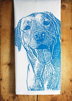 Happy Lab Tea Towel in Royal Blue Labrador Retriever by FuzzyMug