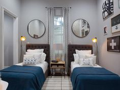 Twin beds with tufted upholstered headboards/bedroom/round mirrors/modern/Property Brothers/New Orleans/decorating ideas/seen on Hello Lovely Studio Guest Bedrooms, Guest Room, Twin Bedroom Ideas, Twin Room, Deco Kids, Small Rooms, Bedroom Decor, Bedding Decor, Floral Bedding