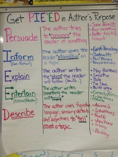 Authors purpose anchor chart, ela, get pie'ed grade grade reading 6th Grade Ela, 4th Grade Reading, Third Grade, Education Quotes For Teachers, Quotes For Students, Reading Anchor Charts, Reading Intervention, Reading Response, Challenge