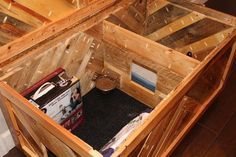 All in One Cat Box — MonoLoco Workshop Cat Box Furniture, Small Bedroom Furniture, Diy Litter Box, Cat Stands, Munchkin Cat, Cat Shelves, Cat Enclosure, Space Cat, Diy Woodworking