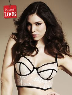 Elouise Cream Long Line Padded Bra - This charming longline bra is perfect for girls who want their underwear to look sexy, feminine and stylish. It features a cute black scalloped trim, exposed underwiring, and a gorgeously delicate floral lace design.
